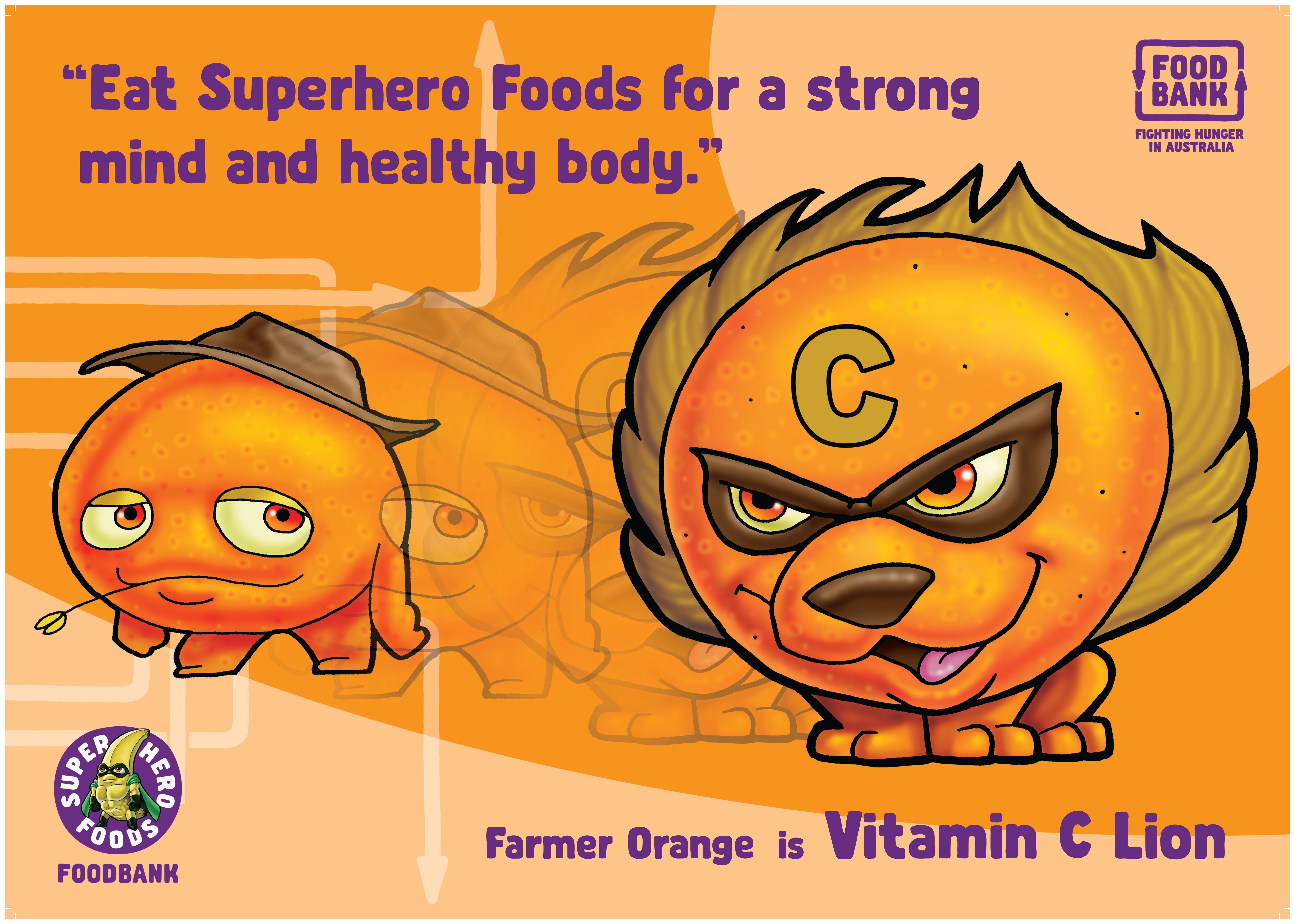Poster - Vitamin C Lion (Download) - Superhero Foods HQ by